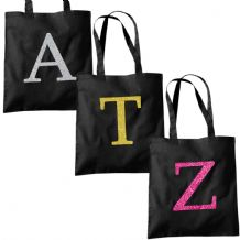 Single Letter GLITTER Printed Black Tote Bag - Alphabet A-Z Initial Shopper Bags